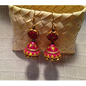 Artistri Pink and Maroon Conical Geometric Jhumka with Round Stud and Hooks