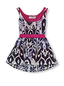 LA Lounge Girl's Tribal Print 2Fer Dress (Magenta)