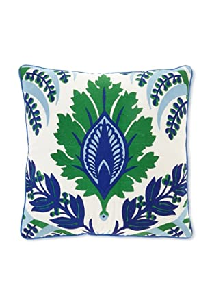 Jennifer Paganelli Pina Linen Embroidery Pillow, 20 by 20-Inch, Blue