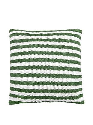 Lene Bjerre Afia White & Green Striped Throw Pillow