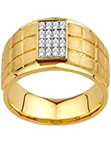 AG Yellow and White Silver Ring For Men (AG - AGSR0063)