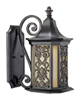 Savoy House 5-196-62 Forsyth 1-Light Outdoor Wall Lantern, Como Black with Gold Finish and Tuscan Glass