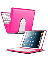 iPad Mini 4 Keyboard Case - CoverBot iPad Mini 4 Keyboard Case Station HOT PINK Bluetooth Keyboard For iPad Mini 4. Folio Style Cover with 360 Degree Rotating Viewing Stand Feature