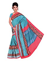 RoopSangam Sarees Printed Blue Cotton Silk Saree (Party And Daily Wear)