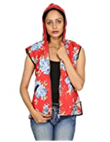 Floral Print Reversible Cotton Hood Quilted Women's Jacket