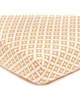 American Baby Company 100% Cotton Percale Fitted Crib Sheet, Orange Tweedle Dee Tile