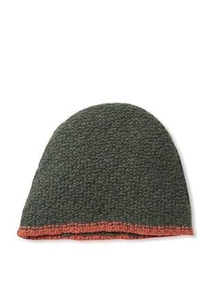 Sofia Cashmere Men's Seed Stitch Skull Cap (Green/Orange)