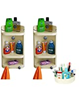 CiplaPlast Combo of Caddy Bathroom Corner Cabinet (Set of Two) & Multipurpose Container - Ivory