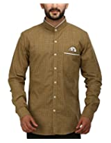 SPEAK Men's Cotton Twill Checks Mandarin / Chinese Collar Shirt (40, Olive Green)