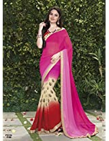 New Arrival Pink And Red Designer Saree FS124-1106