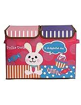UberLyfe Foldable Kids Storage Box Organizer- Double Flap - Large (Candy Rabbit)