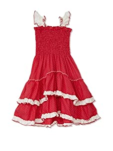 4EverPrincess Girl's Angel Dress (Red/White Polka Dot)