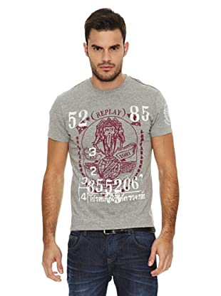 Replay Camiseta MC Print (Gris)