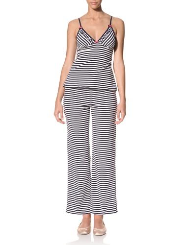 Betsey Johnson Women's Yarn Dye Cotton Pajama Set (Going On Stripe White/Navy Seals)