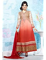 Superb Shaded Coral and Red Long Anarkali Semi Stitched Suit Material