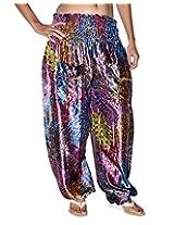 Famacart Women Printed Harem Pant Free Size purple summer trouser