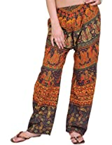 Exotic India Womens Cotton Trousers -Brown, (Free Size)