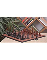 Chessbazaar Combo Of Caballus Series Chess Pieces In Ebony/Bud Rose Wood & Black Anigre Red Ash Burl With Moulded Edges Board