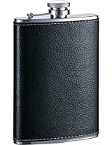 Visol Max Leather Premium Quality Liquor Flask, 8 oz, Black