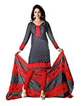 RUDRA FASHION WOMEN'S GREY & RED COTTON SALWAR SUIT DRESS MATERIAL WITH COTTON DUPATTA.DS-2107