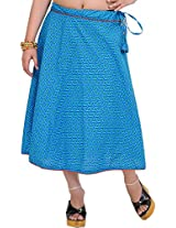 Exotic India Drawstring Printed Midi Skirt with Piping - Color Hawaiian OceanGarment Size Free Size