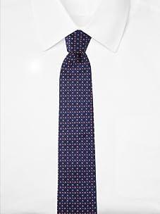 Aquascutum Men's Multi Diamond Silk Tie (Navy/Red/White)