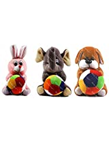 Rushi Enterprise Combo Dog Rabbit and Elephant Cute Teddy Soft Toy kids birthday (19 cm)