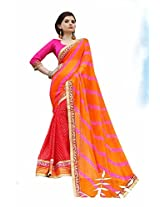 Bahubali Womens Half laehria and half motera print along with heavy embroidery lace(85611_Multi Colour Saree)