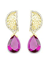 Purple Stone & White Stone Gold Plated Dangle Earrings
