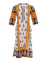 Vinorisa Girl's Cotton Regular Fit Kurti (White & Orange, 46)