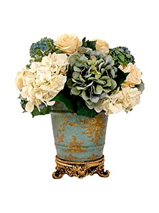 Creative Displays Cream & Aqua Hydrangea & Rose Floral in Oriental Vase