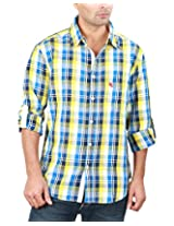 REIGN OF FASHION Men's Casual Shirt (500033, Yellowish Blue Checks, 3X-Large)