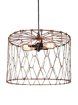 Shades of Light Aged Metal Cage Drum Shade Pendant - Large