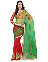 Admyrin Green and Red Georgette Net Saree with Satin Crush Blouse