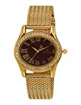 Maxima Swarovski Gold Analog Red Dial Women's Watch - 29530CMLY