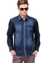 Washed Blue Slim Fit Casual Shirt Yepme