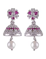 Silver Prince 6.9 Grm Pearl, White Cubic Zirconia, Pink Cubic Zirconia Bestseller 925 Silver Earrings