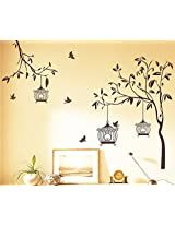 Wallcano Decals Design Brown Tree With Birds And Cages 7127 Wall Sticker