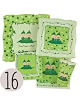 Twins Two Peas in a Pod Baby Shower Tableware Bundle for 16 - Plates, Cups, Napkins
