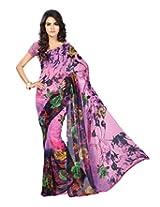 Chandra Silk Mills Pink Floral Print Daily Wear Saree