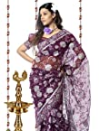 Purple Saree Tissue Prints Stone Work : S6107