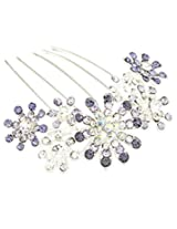 8 Republic London Mother's Day Special Floral Shape Rhinestone Embellished Hair Comb For Women