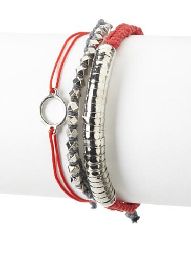 Shashi One Row Golden Nugget & Luna Snake Adjustable Bracelet Set, Red