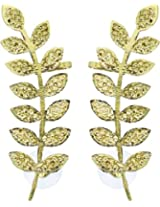YoFashion Floral Leaf 18K Antique Gold Plated Ear Cuff Pair for Women