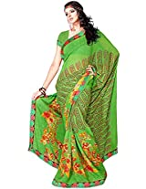 Shree Bahuchar Creation Women's Chiffon Saree(Skb21, Green)