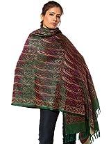 Exotic India Womens Pure Silk-Wool Shawls ,Juniper Green ,Free Size