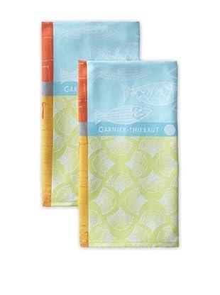 Garnier-Thiebaut Set of 2 Sardines Kitchen Towels, Marine