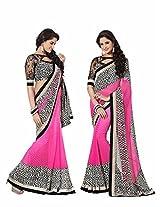 Rajshri Fashions Faux Georgette Saree (110 _Pink)