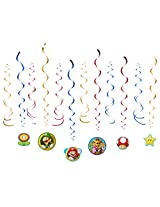 Super Mario 12 Pieces Swirl Decorations Party Decorations