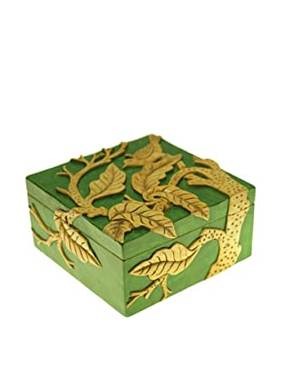 The Niger Bend Square Soapstone Box with Bird in Tree Design